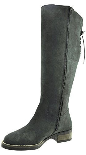 JJ Footwear Damen Stiefel Leder Burton XL Schwarz Grain Nubuck