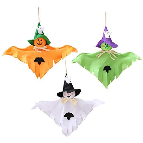Triple Kostüm X - Asdomo Halloween-Dekoration zum Aufhängen, Kürbis-Geist, für Terrasse, Rasen, Garten, Party, Urlaub, Dekoration, 3 Stück, mehrfarbig, 3PCS