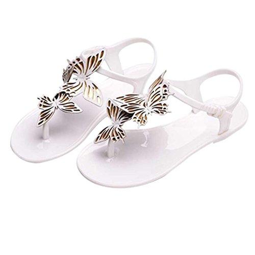 Produktbild Malloom® Womens Casual Sommer Strand Schmetterling Flip Flops Sommer Kurze Hasp Flache Sandalen Fliege Flache Fischgrät Sandalen (38, Weiß)