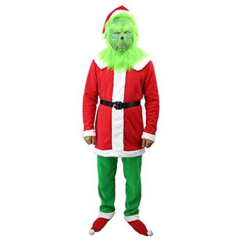 FUGUI Rosenmontag Karneval Kostüm, Grinch Kostüm, Weihnachten Grinchmaske Grinch Latex Maske Kostüm Mask + Weihnachtsmütze + Weihnachtsoutfit + Gürtel + Grüne Handschuhe (A, S)