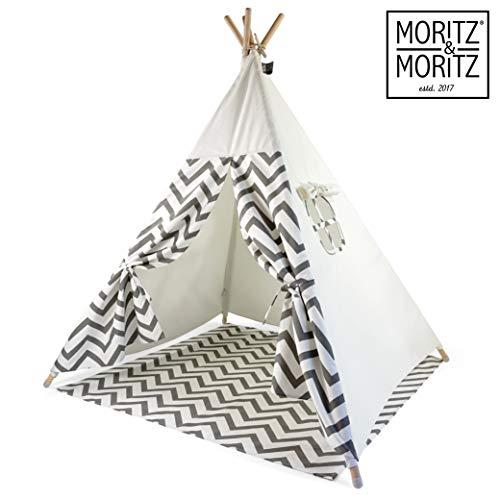 Moritz & Moritz Tipi Zelt für Kinder - Grau Zackenmuster - Kinderzelt Spielzelt Geschenkidee - Mit Bodendecke und Fenster - Für Haus und Garten