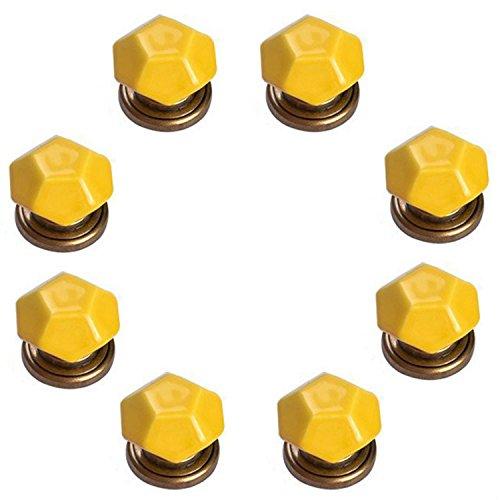 FBSHOP(TM) 8PCS Gelb Diamant-Form Keramik Türknauf /MöbelKnopf /Möbelgriffe für Küche Schränke, Kleiderschrank, Kommode, Schublade,Schranktür Schlafzimmer und Badezimmer KinderZimmer Dekor etc. Mit Zink-Legierung Base -
