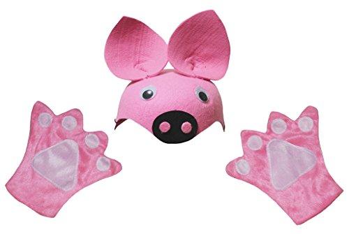 Handschuhe Unisex Adult 2pc Kostüm Zubehör Einheitsgröße Rosa ()