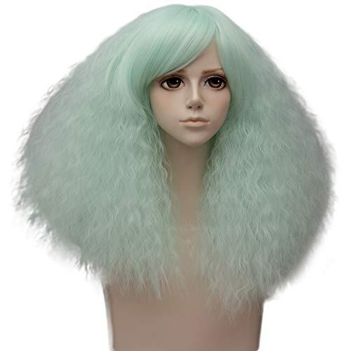 EDAY flauschige Perücken für schwarze Frauen kurze Bob fluoreszierende grüne Cosplay Kostüm Perücke mit Pony synthetische hitzebeständige Faser Haar Perücke für Halloween Party