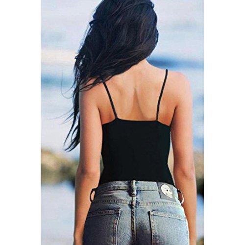 OverDose, Femmes Culotte Bustier Bralette Corset Tops Débardeur Chemisier T-shirt Noir
