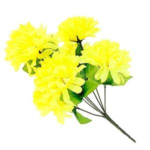 P Prettyia Ramo de Flores de Crisantemo Artificial Cementerio de Seda Adorno para Hogar Suministro de Envoltorio Reserva de Fiesta – Amarillo, como se Describe