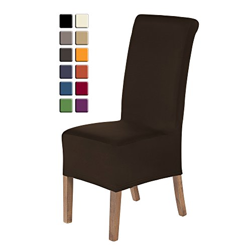 SCHEFFLER-HOME Lena Chair Covers for Dining Room 2 Pcs, Stretch Chaircover, Bi-elastic Slipcover, Decor Cover with Elastic Band, universal Fitting, Possible seat height coverage 20-24 cm - Brown