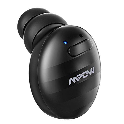 Mpow Mini Auricular Bluetooth, Auricular Invisible Inalámbrico con Manos libres Cancelación de Ruido, Bluetooth 4.1 con USB Magnéticos para coche y oficina iPhone Samsung Huawei Sony HTC (Ondulación Negro)