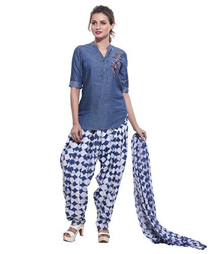 Jublee Women\'s Printed Blue Patiala with Dupatta Set