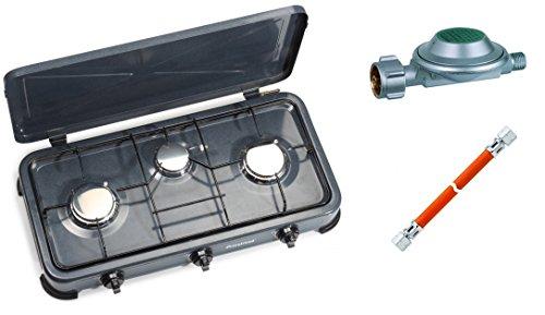 Campingkocher Gaskocher 3 flammig 4kW Zündsicherung Piezozündung Gas + 1mtr. Gasschlauch + Regler