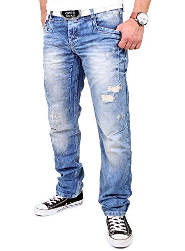 Cipo & Baxx Herren Jeans Destroyed Look Regular Fit Jeanshose CD-104 Blau W36 / L32
