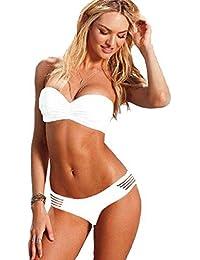 Demarkt Sexy Maillot de Bain pour les Femmes Deux Pieces/ Swimwear Bustier Bikini avec Garniture Modèle Simple et Confortable Cet été-6 Couleur a Choisir/ Taille S/M/L