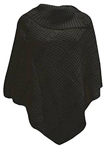 TRENDY PONCHO 3 CÂBLE DE FILET PULL TRICOT DESIRE CLOTHING HAUT Noir - Noir
