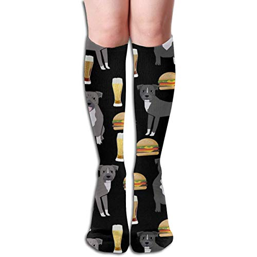 UYTGYUHIOJ Pitbulls and Burgers Food Print Burgers and Beer Men's Women's Cotton Crew Athletic Sock Running Socks Soccer Socks 19.7 inch - Crew Print Crew Socks