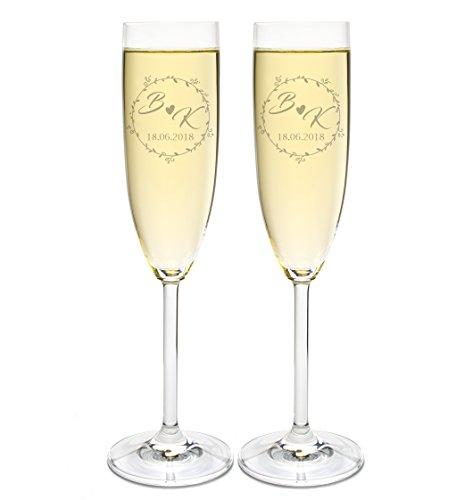FORYOU24 - 2 Leonardo Sektgläser mit Gravur zur Hochzeit Motiv Initiale Sekt-Glas graviert personalisiert Geschenkidee