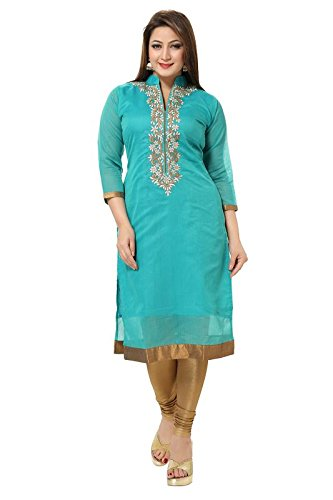 Dream & Dzire Women's Banarasi Chanderi Turquoise Straight Kurti for All Plus...