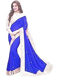 Saree(Online Hub New Disigner Georgette Saree, Party Wear Sarres)(Blue Patta With Hand Work)