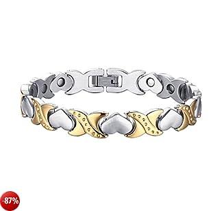 Oidea Bracciale Braccialetto Donna Bracciale Catena Acciaio Inox Magnete Cuore Argento Oro