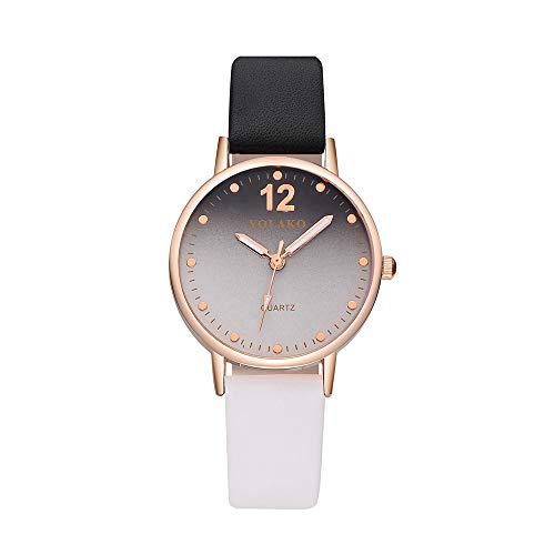 Mode lässig Mädchen Damen Leder Metall Quarz Analog Armbanduhren Gradient wählen YunYoud modern lederarmband billige armbanduhren neue damenuhren stylische edelstahl uhr