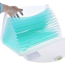 Aibecy - Carpeta clasificadora expandible para A4, polipropileno transparente, con cierre de hebilla, para todo tipo de documentos, azul, color verde