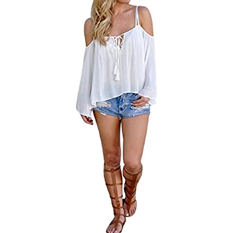 Culater® Las mujeres del hombro de la blusa de manga larga camisa ocasional Tops (XL, Blanco)