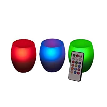 Frostfire Mooncandles Frosted Glass Colour Changing Candles with Remote Control, Set of 3