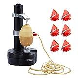TOROTON Pelapatate Elettrico + 6 Lame di Ricambio, Fresa Rotante Automatica per Frutta e Verdura - Utensile per sbucciare la Cucina