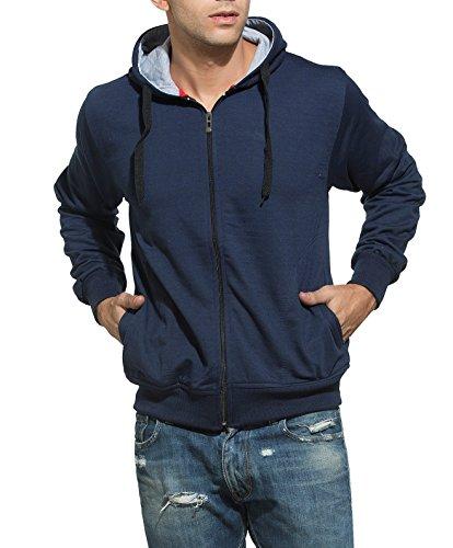 Alan Jones Solid Zipper Hooded Sweatshirt (SS-401-NAVY-XL_X-Large_Navy)