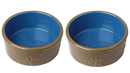 Cajou 2 er Set Keramiknapf Bone für Hunde Katzen - Futternapf und Wassernapf (300 ml) (Keramik Bone Hundenäpfe)