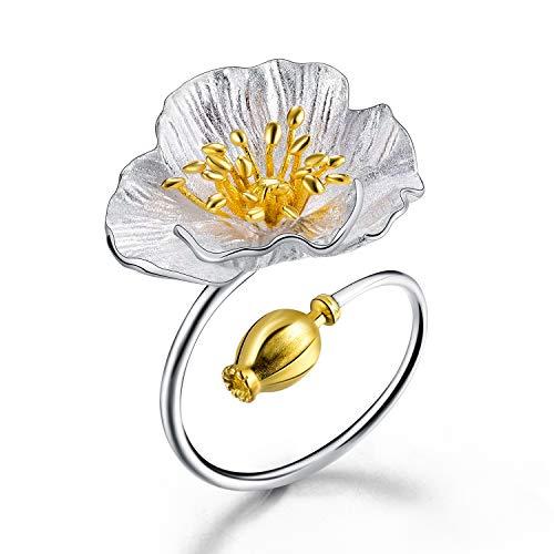 Lotus Fun S925 Sterling Silber Ring Blühende Mohnblume Ringe Natürlicher Handgemachter Einzigartiger Schmuck für Frauen und Mädchen (Ringe Schmuck Handgemachter)