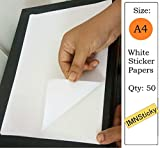 IMNSticky 50 Sheets of A4 Size Full White Sticker Paper, Self-Adhesive Blank Labels