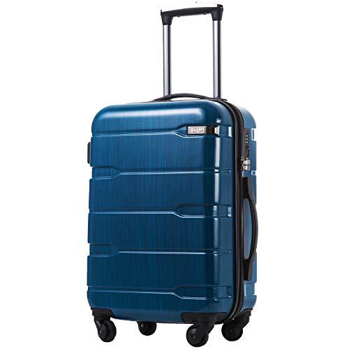 COOLIFE Koffer Reisekoffer Vergrößerbares Gepäck (Nur Großer Koffer Erweiterbar) PC + ABS Material mit TSA-Schloss und 4 Rollen(Caribbean Blue, Handgepäck)