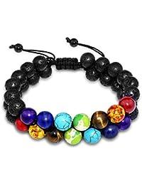 Wrap-armbänder 7 Chakra Perlen Armband Meditation Glas Cabochon Schwarz Leder Armband Indischen Schmuck Für Frauen Männer
