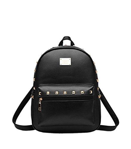 SAMGU Weibliche Tasche Rivet Rucksack PU-Beutel Schultaschen Farbe Gold schwarz