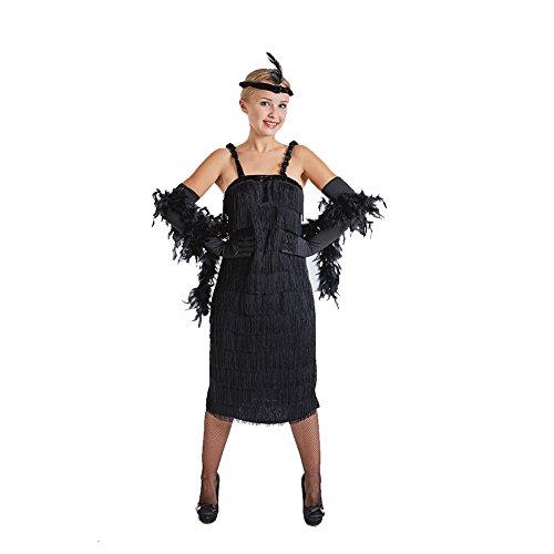 Charm Rainbow Damen Flapper Kleid Mafia Kostüm 20er Schwarze Spaghetti Schwingen Troddel Set inkl. Kleid, Handschuhe, Stirnband, Large, (Tanz Kostüm Latein Wettbewerbe)