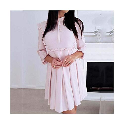 Fashion Women Long Sleeve Preppy Party Mini Dress 3/4 Sleeves Lace Frilled Bow Tie Neck Dress Ladies Solid Pleated Dress Pink S