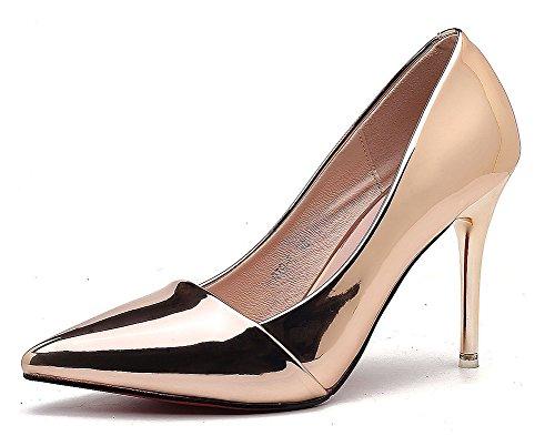 Aisun Damen Klassisch Spitz Zehen Low Top Stiletto High Heels Pumps Sandale Champagner