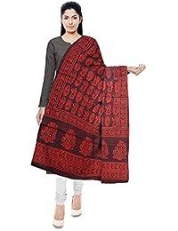 NEEL BATIK - THE BLOCK PRINTS Women's Malmal Cotton Stole (Red & Black)