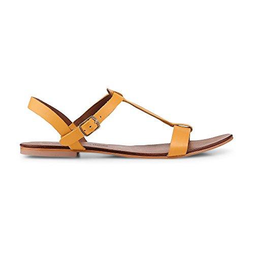 Cox Damen Damen Sommer-Sandalen aus Leder, Flache Riemchen-Sandaletten in Gelb mit Schnallen-Verschluss Gelb Leder 39