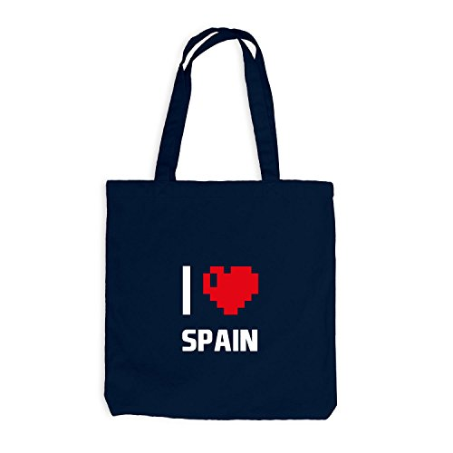 Jutebeutel - I Love Spain - Spanien Reisen Herz Heart Pixel Navy