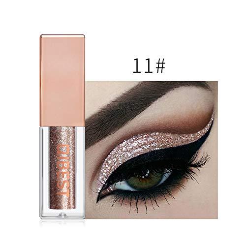 16 Farben Lidschatten Palette Professionelle Wasserfesterlidschatten Glitzer FlüSsig Eyeliner Lidschatten (16 Farben, Gold 11#)