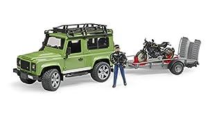 bruder-02598-Land Rover Defender con Remolque, Moto Scrambler Ducati Cafe y Personaje-Verde