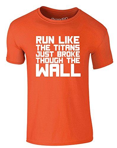 Brand88 - Run Like the Titans..., Erwachsene Gedrucktes T-Shirt Orange/Weiß