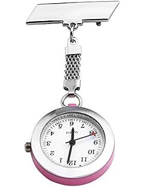 JSDDE Uhren,Krankenschwester FOB Uhr Pflegeruhr Pulsuhr Ansteckuhr Kreuz Schwesternuhr Taschenuhr Quarzuhr,Dunkel...