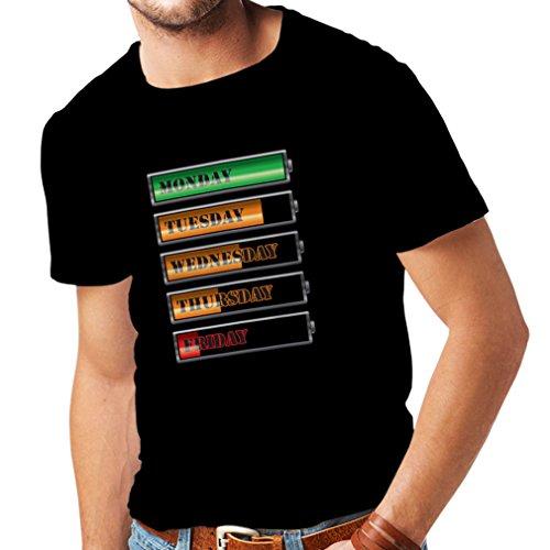Männer T-Shirt Wöchentlicher Power Workout Zeitplan (Large Schwarz Mehrfarben)