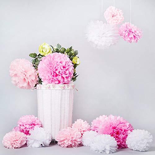 Bliqniq 15 x Pompones Flores de Papel de Seda Para la Decoración de la Boda, del Baby Shower. Blanco/Rosa claro/rosa (ø20,25,35 cm)