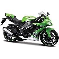 Maisto Kawasaki Ninja ZX-10R: Originalgetreues Motorradmodel, Maßstab 1:12, mit Federung und ausklappbarem Seitenständer, 18 cm, grün (531187)