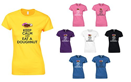 Keep Calm And Eat A Doughnut, Ladies Printed T-Shirt