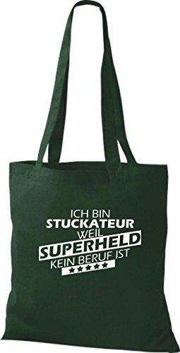 Shirtstown Stoffbeutel Ich bin Stuckateur, weil Superheld kein Beruf ist gruen