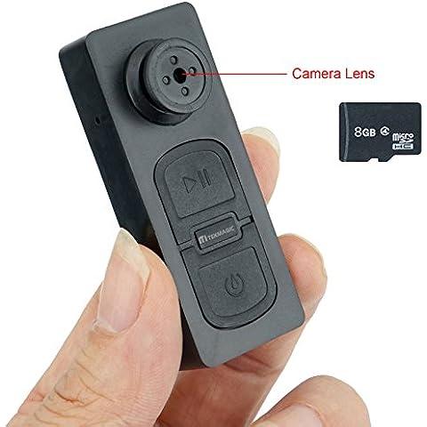 TEKMAGIC 8GB Mini Cámara Espía Portátil Botón Grabadora de Vídeo Soporte de Grabación de Voz Tamaño Pequeño 45x22x16mm